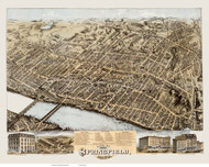 Springfield, Massachusetts 1875 Bird's Eye View - Old Map Reprint BPL