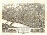 Springfield, Massachusetts 1875 Bird's Eye View - Old Map Reprint