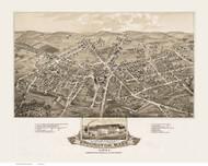 Stoughton, Massachusetts 1879 Bird's Eye View - Old Map Reprint BPL