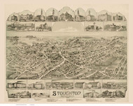 Stoughton, Massachusetts 1890 Bird's Eye View - Old Map Reprint BPL