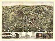 Taunton, Massachusetts 1875 Bird's Eye View - Old Map Reprint