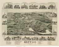 Upton, Massachusetts 1888 Bird's Eye View - Old Map Reprint BPL
