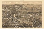 Uxbridge Town Only, Massachusetts 1880 Bird's Eye View - Old Map Reprint