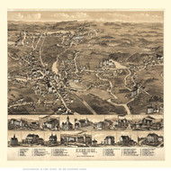 Uxbridge, Massachusetts 1880 Bird's Eye View - Old Map Reprint