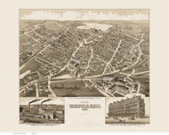 Wakefield, Massachusetts 1882 Bird's Eye View - Old Map Reprint BPL