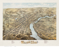 Waltham, Massachusetts 1877 Bird's Eye View - Old Map Reprint