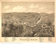 Warren, Massachusetts 1879 Bird's Eye View - Old Map Reprint