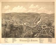 Warren, Massachusetts 1879 Bird's Eye View - Old Map Reprint