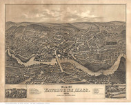 Watertown, Massachusetts 1879 Bird's Eye View - Old Map Reprint BPL