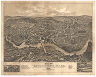 Watertown, Massachusetts 1879 Bird's Eye View - Old Map Reprint