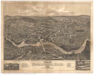 Watertown, Massachusetts 1879 Bird's Eye View - Old Map Reprint