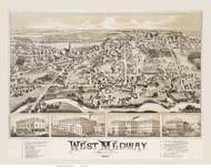 West Medway, Massachusetts 1887 Bird's Eye View - Old Map Reprint BPL