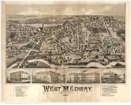 West Medway, Massachusetts 1887 Bird's Eye View - Old Map Reprint