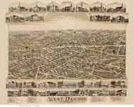 West Newton, Massachusetts 1890 Bird's Eye View - Old Map Reprint BPL