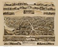 Whitinsville, Massachusetts 1891 Bird's Eye View - Old Map Reprint BPL