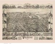 Whitman, Massachusetts 1889 Bird's Eye View - Old Map Reprint BPL