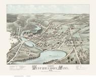 Winchendon, Massachusetts 1878 Bird's Eye View - Old Map Reprint BPL