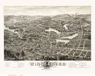Winchester, Massachusetts 1886 Bird's Eye View - Old Map Reprint BPL