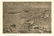 Winchester, Massachusetts 1898 Bird's Eye View - Old Map Reprint