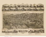 Wollaston, Massachusetts 1890 Bird's Eye View - Old Map Reprint BPL