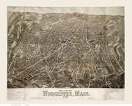 Worcester, Massachusetts 1878 Bird's Eye View - Old Map Reprint BPL