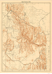 Idaho-Territory 1884  - Old State Map Reprint