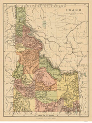 State of Idaho 1890 - Old State Map Reprint