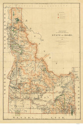 State of Idaho 1891  - Old State Map Reprint