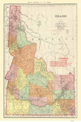 Idaho 1903 - Railroads -  Rand McNally & Co. - Old State Map Reprint