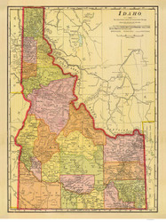 Idaho 1909 Cram - Old State Map Reprint