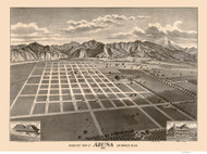 Azusa, California 1887 Bird's Eye View