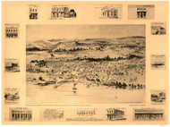 Lakeport, California 1888 Bird's Eye View