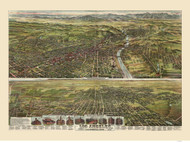 Los Angeles, California 1894 Bird's Eye View