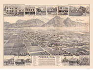 Pomona, California 1886 Bird's Eye View