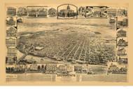 Sacremento, California 1890 Bird's Eye View