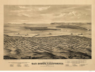 San Diego, California 1876 Bird's Eye View