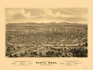 Santa Rosa, California 1876 Bird's Eye View
