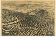 Stockton - East, California ca 1895 Bird's Eye View