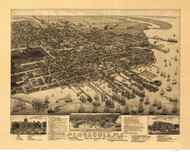 Pensacola, Florida 1885 Bird's Eye View