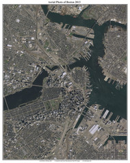 Aerial Photo View of Boston 2013 - Massachusetts Custom Composite Map Reprint
