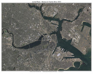 Aerial Photo View of Boston & Charles River 2013 - Massachusetts Custom Composite Map Reprint