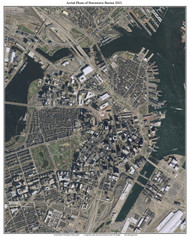 Aerial Photo View of Downtown Boston 2013 - Massachusetts Custom Composite Map Reprint
