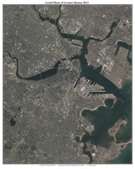 Aerial Photo View of Greater Boston 2013 - Massachusetts Custom Composite Map Reprint