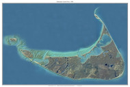 Aerial Photo View of Nantucket 2001 - Massachusetts Custom Composite Map Reprint