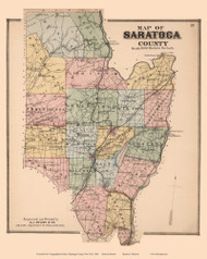 Saratoga County, New York 1866 - Old Map Reprint