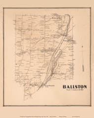 Ballston, New York 1866 - Old Town Map Reprint - Saratoga Co.