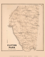 Clifton Park, New York 1866 - Old Town Map Reprint - Saratoga Co.