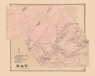 Day, New York 1866 - Old Town Map Reprint - Saratoga Co.