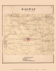 Galway, New York 1866 - Old Town Map Reprint - Saratoga Co.