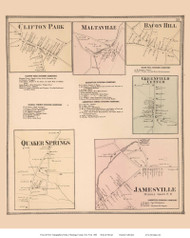 Clifton Park, Maltaville, Bacon Hill, Greenfield Center, Quaker Springs, and Jamesville Villages - Greenfield, New York 1866 - Old Town Map Reprint - Saratoga Co.